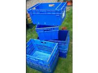 Joblot of 8 strong large stacking, nesting roll bar, bale rod plastic resin crates
