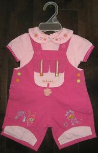 Souris Mini Pink Overall Set, 0-3 months