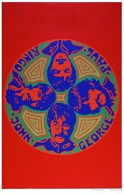 the Beatles POSTER  **LARGE**  PSYCHEDELIC Paul McCartney John Lennon Unique Art
