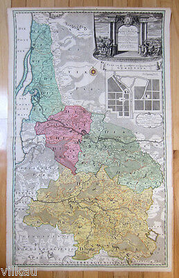 1735 Homann Heirs Large Wall Map of East Prussia Lithuania Minor Kaliningrad