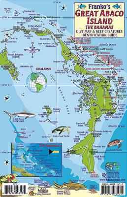 Great Abaco Island Bahamas Dive Map Reef Creatures Franko Waterproof Fish Card