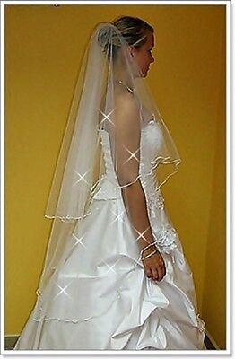 "New 2 Tier White Ivory Wedding Prom Bridal Veil With Comb 51""-Swarovski Crystals"