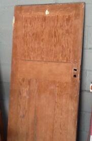1930s Original Canadian Pitch Pine 4 Panel Door Stripped