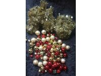 Christmas Tree Red & Gold Mix of Various Sized Baubles and Gold Tinsel