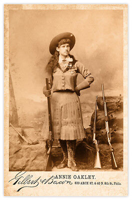 ANNIE OAKLEY Old West  Legend Vintage Photograph Cabinet Card RP 2