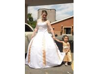 Gorgeous White and Gold Wedding Dress size 14-16 RRP£899