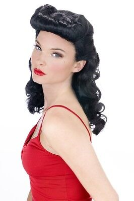 Rockabilly Pin-Up Bettie Page Burlesque Retro 40s 50s Wig Curls Black - Betty Page Halloween