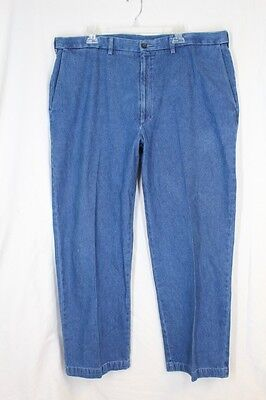 HAGGAR W2W Denim Pants 40 29 Blue Comfort Waist Flat Plain Front Pockets Cotton for sale  Shipping to India