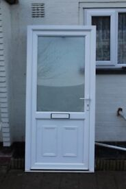 UPVC WHITE DOUBLE GLAZED DOOR 990mm X 2100mm/with sill 2130mm/