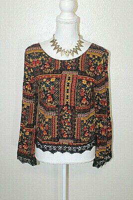 H&M COACHELLA Size 6 Floral Crochet Trim Criss Cross Back Boho Peasant Top