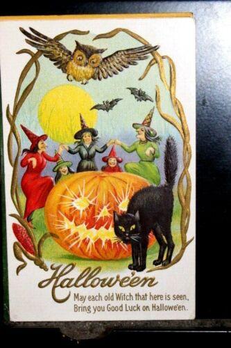 #H7,Halloween, Stecher Pub, Owl Watching Witches Dancing JOL 1917