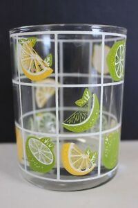 Vintage-Culver-Mid-Century-Yellow-amp-Green-Whole-amp-Sliced-Lemons-Tumbler-Glass