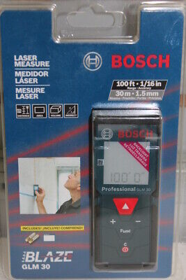 New Bosch Professional Glm 30 Compact Blaze 100 Ft Laser Distance Measure