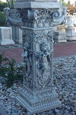 Steinsäule, Säule, Figurensockel 82 cm Steinguss, Sockel mit Engel, Gartendeko