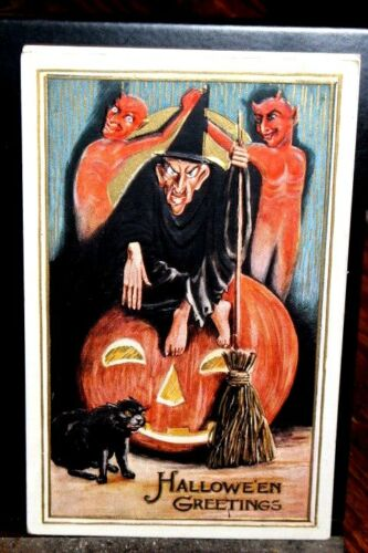 #H29,Seldom Seen Obscure Pub Halloween Witch w Two Devils @1910