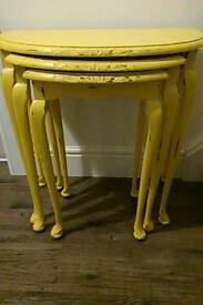 Vintage shabby chic half moon nest of 3 tables yellow