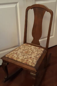 Antique Child's Rocking Chair with Tapestry Fabric Seat