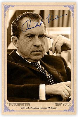 RICHARD M. NIXON President Cabinet Card Photograph Vintage Autograph RP