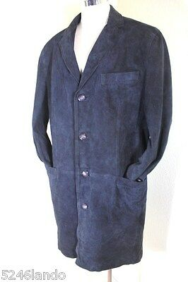 Vintage GIANNI Versace LEONE Black Light Suede Leather Trench Coat 50 / 40 7 8 9