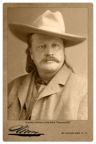 PAWNEE BILL Old West Showman Legend Vintage Mora Photo Cabinet Card RP