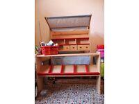 Pilonino wooden play village shop market stall kids playroom
