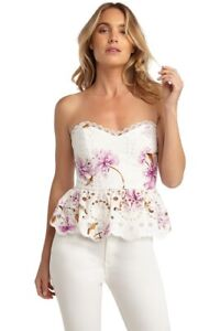 Bardot size 6 / XS white and pink floral strapless bustier top BNWT