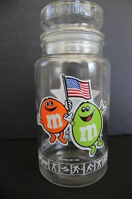 M&M's Clear Glass Jar 23rd Olympiad Los Angeles 1984 Green Orange Characters