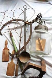 Glass Butter Churn, Lake Ice Block Tongs, Rug beaters (Oct 27)