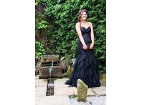 LAST MINUTE black dynasty London PROM dress. Black fishtail diamonds prom dress size 10