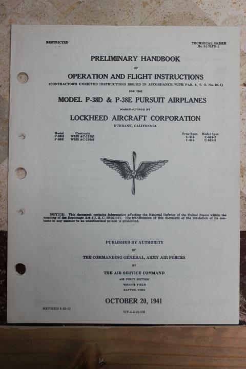 ORIGINAL 1942 AAF P-38D & E LIGHTNING FIGHTER PILOTS FLIGHT MANUAL HANDBOOK