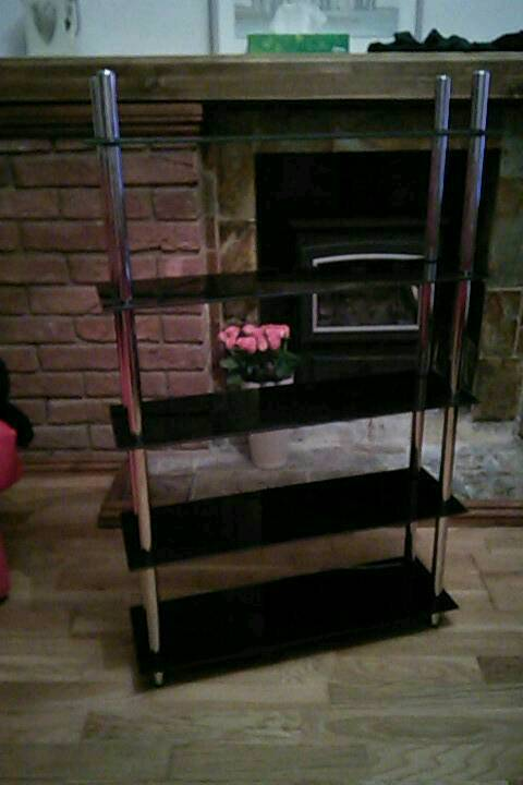 Black glass CD/DVD shelves
