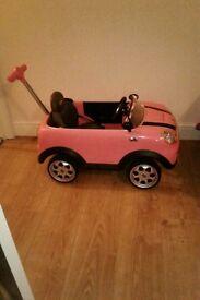 Pink minni cooper push along