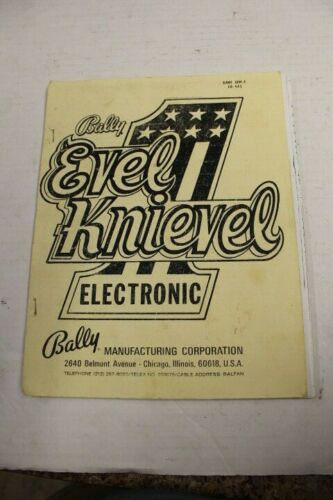 Bally EVEL KNIEVEL Pinball Machine Operations Manual - Used COPY - NO BACK COVER