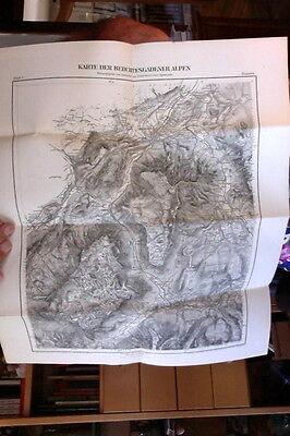 1887 Bad Reichenhall Karte der Berchtesgadener Alpen Ramsau Kupferstich