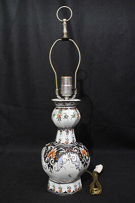 """Vintage Baldwin Hand Painted DELFT Style Table Lamp, Forged in America, 22"""""""