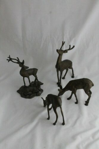 4 Cast Metal Bronze Brass Deer Bucks Does Figures Animal Statues Reindeer 8""