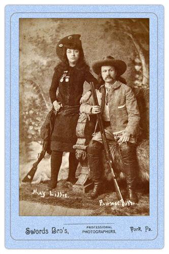 PAWNEE BILL & MAY LILLIE Wild West Show Legends Vintage Photo Cabinet Card RP