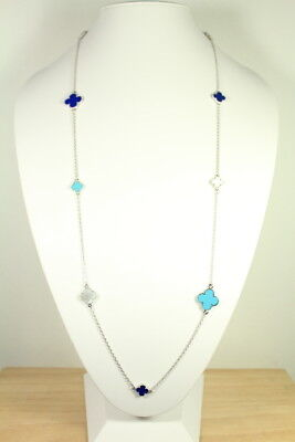 Silver plated mixed mother of pearl turquoise motif necklace. Mother Of Pearl Silver Plated Necklace