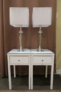 BEDSIDE TABLE, NIGHT STAND, END TABLE,  and LAMPS