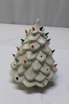 "White Ceramic Multi-Colored Bulbs Light Up Christmas Tree 11"" Tall"