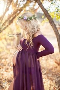 Maternity photoshoot off the shoulder gown in white
