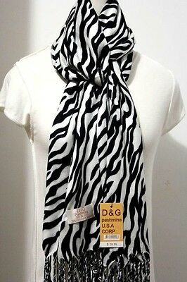 Zebra Print Silk (DG Women's Pashmina Scarf Shawl Wrap Zebra Print-Black White/Silk Cashmere )