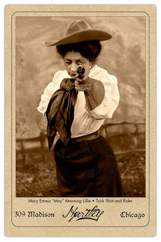 MAY MANNING LILLIE Old West Trick Shooter & Rider Vintage Photo Cabinet Card RP