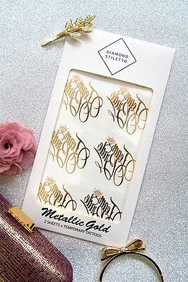 Bachelorette Party Temporary Tattoos (Nice) Metallic Gold Flash Tattoos - Bachelorette Temporary Tattoos