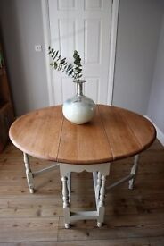 Old Oak 4-Seater Drop Leaf Table - Shabby Chic, Vintage