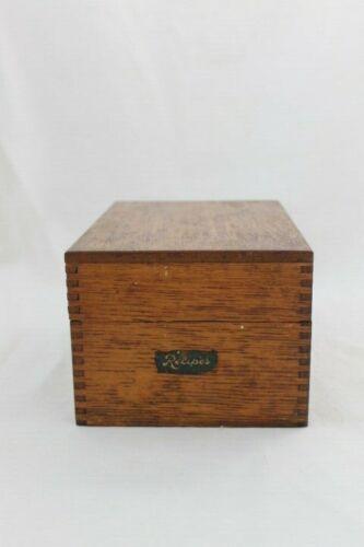 Vintage Wooden Large Hinged Dovetail Recipe Box Decker Bros. Brown Wood Indiana