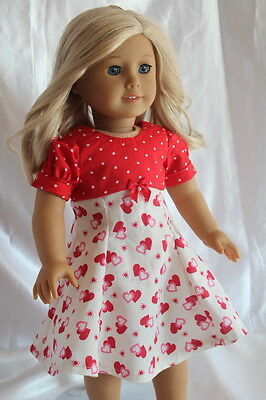 Dress fits 18inch American Girl Doll Clothes Valentine