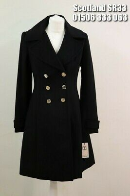IVANKA TRUMP DOUBLE BREASTED BUTTON WOOL JACKET WITH FLARED HEM BLACK UK SIZE 8