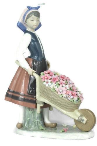 Lladro Girl w/ Wheelbarrow Barrel of Blossoms Figurine 01419