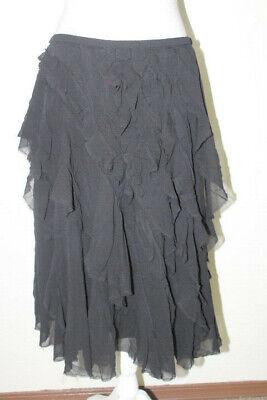 DKNY DONNA KARAN NEW YORK Sz 10 Black Silk Ruffled Layered Elastic Waist Skirt